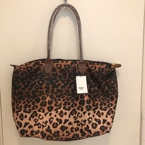 Leopard animal print fabric tote